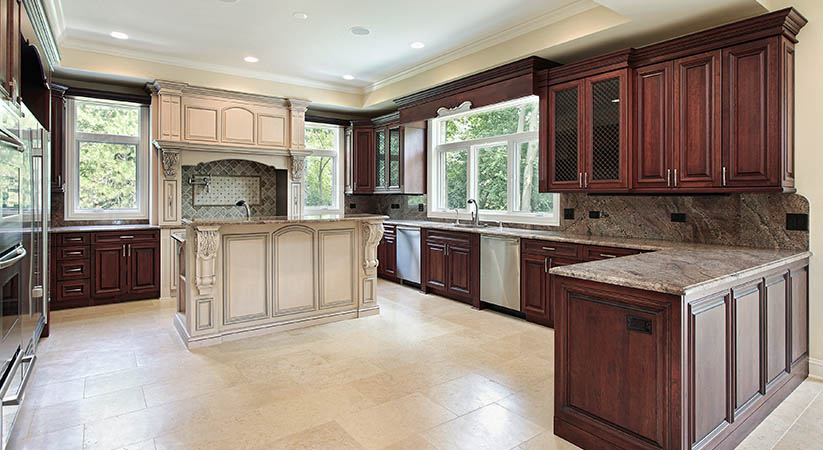 Kitchen in new construction home with large island